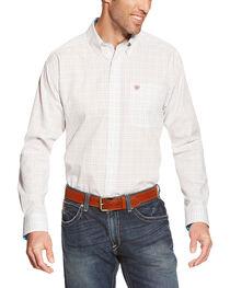 Ariat Men's Plaid Long Sleeve Western Shirt, White, hi-res