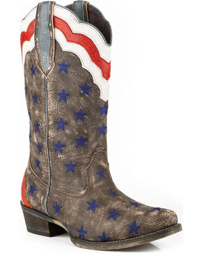 Roper Women's Brown Stars & Stripes Western Boots - Snip Toe , Brown, hi-res