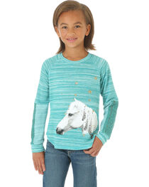 Wrangler Girls' Long Sleeve French Terry Horse Print Top, , hi-res