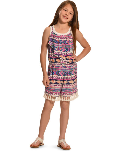 Wrangler Girls' Sleeveless Tassel Romper, Raspberry, hi-res