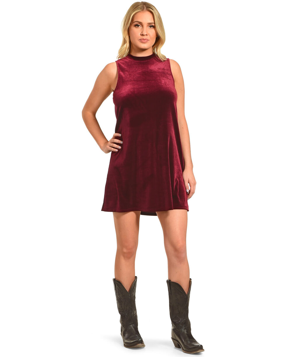 Others Follow Women's High Neck Velvet Shift Dress, Burgundy, hi-res