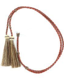 Red & Brown Braided Leather with Horsehair Tassels Stampede String, , hi-res