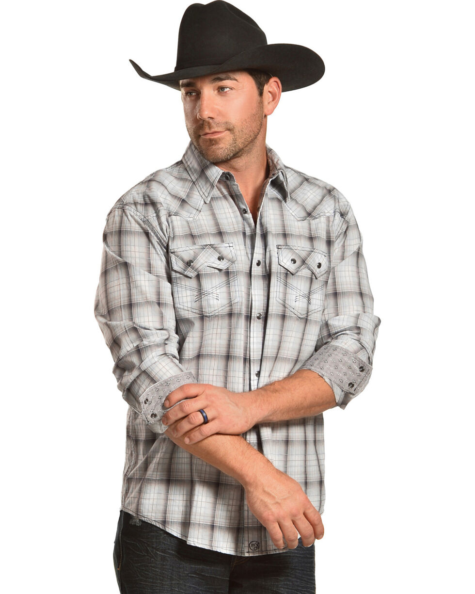 Moonshine Spirit Men's Grey Plaid Long Sleeve Western Snap Shirt, Grey, hi-res