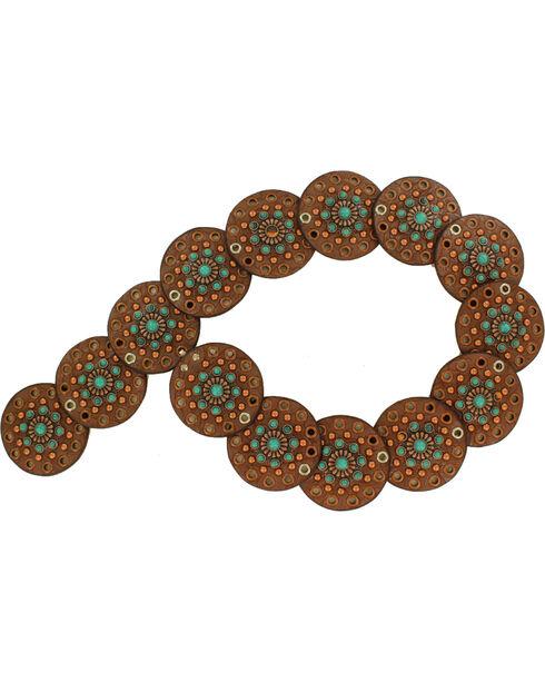 Nocona Women's Wide Disk Conchos Floral Belt , Brown, hi-res