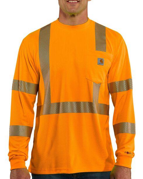 Carhartt Force High-Visibilty Class 3 Long Sleeve T-Shirt, Orange, hi-res
