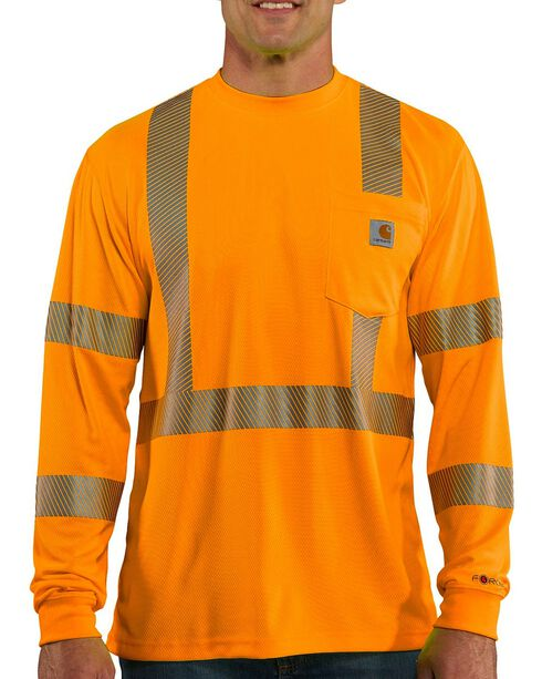 Carhartt Men's Long Sleeve Force High Visibility Class 2 T-Shirt, Orange, hi-res