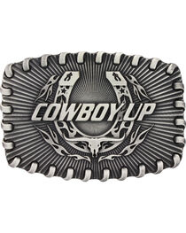 Montana Silversmiths Stitched Edge Radiating Cowboy Up Attitude Belt Buckle, , hi-res