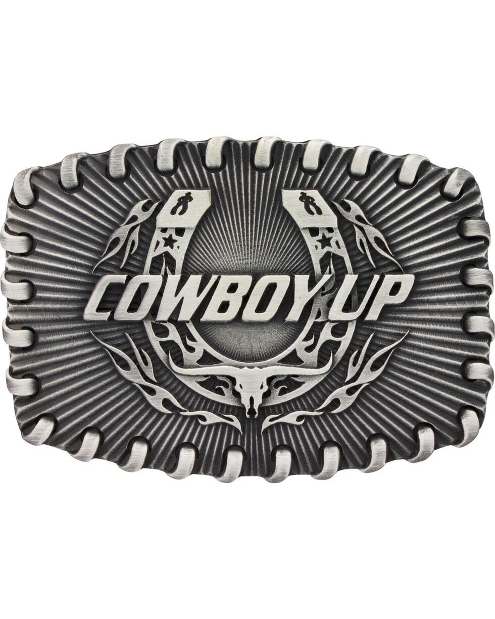 Montana Silversmiths Stitched Edge Radiating Cowboy Up Attitude Belt Buckle, Silver, hi-res
