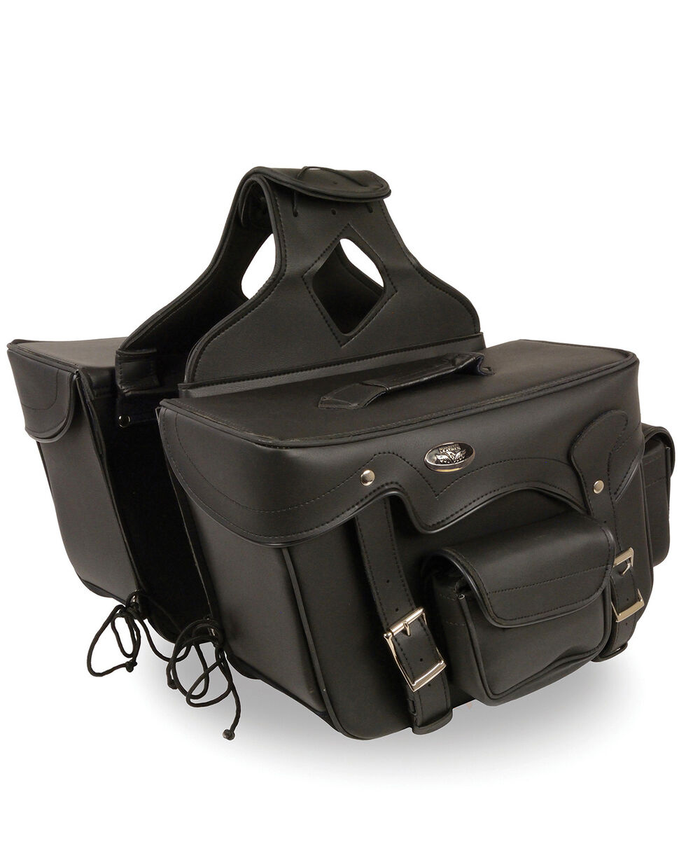 Milwaukee Leather Double Front Pocket Reflective Throw Over Saddle Bag, Black, hi-res