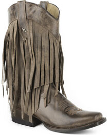 Roper Women's Brown Tall Fringe Western Boots - Square Toe , , hi-res