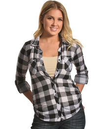 Derek Heart Women's Two Pocket Plaid Button Down Shirt, , hi-res