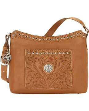 American West Women's Harvest Moon Zip Top Shoulder Bag, Tan, hi-res