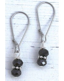 InspireDesigns Women's Black Crystal Droplets Earrings , , hi-res