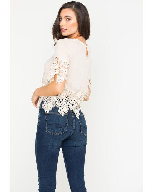 Blush Noir Women's Floral Lace Top , Tan, hi-res