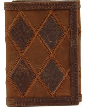 Nocona Patcwork Tri-fold Wallet, Brown, hi-res