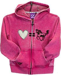 Cowgirl Hardware Toddler Girls' Pink Love Equals Horses Full Zip Hoodie, , hi-res