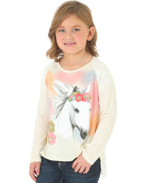 Wrangler Girls' Long Sleeve Lace Trim Horse Graphic Shirt, , hi-res