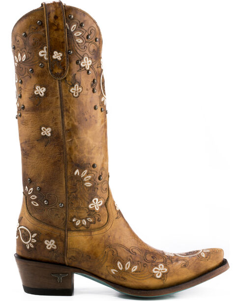 Lane Women's Sweet Paisley Boots - Pointed Toe , Tan, hi-res