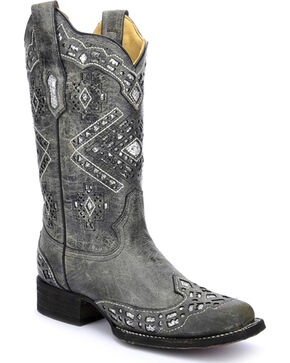 Corral Women's Diamond Glitter Western Boots, Black, hi-res