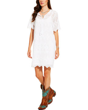 Ariat Women's White Short Sleeve Matti Dress, White, hi-res