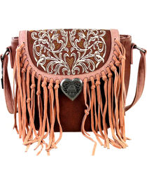 Montana West Fringe Handbag with Love Shape Turn Lock, , hi-res
