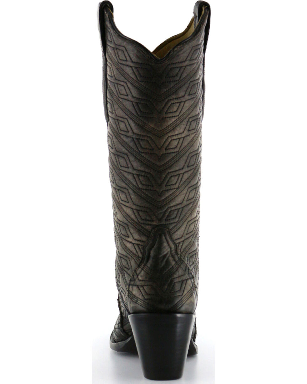 Corral Women's Aztec Diamond Quilted Western Boots, Black, hi-res