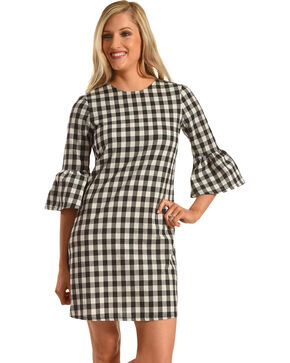 Ces Femme Women's Buffalo Check Flare Sleeve Dress, Black, hi-res