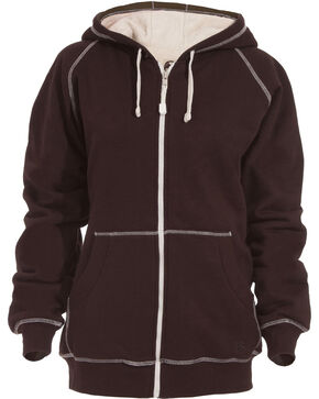Berne Women's Zip-Front Hooded Sweatshirt, Dark Brown, hi-res