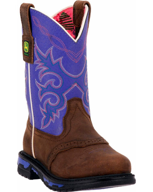 John Deere® Kid's Johnny Popper Western Boots, Dark Brown, hi-res
