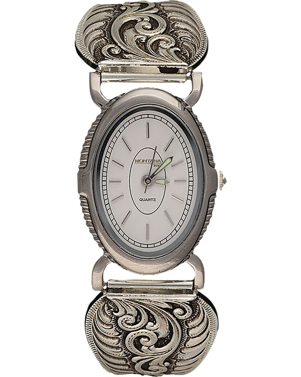 Montana Silversmiths Antiqued Filigree Expansion Band Watch, Silver, hi-res