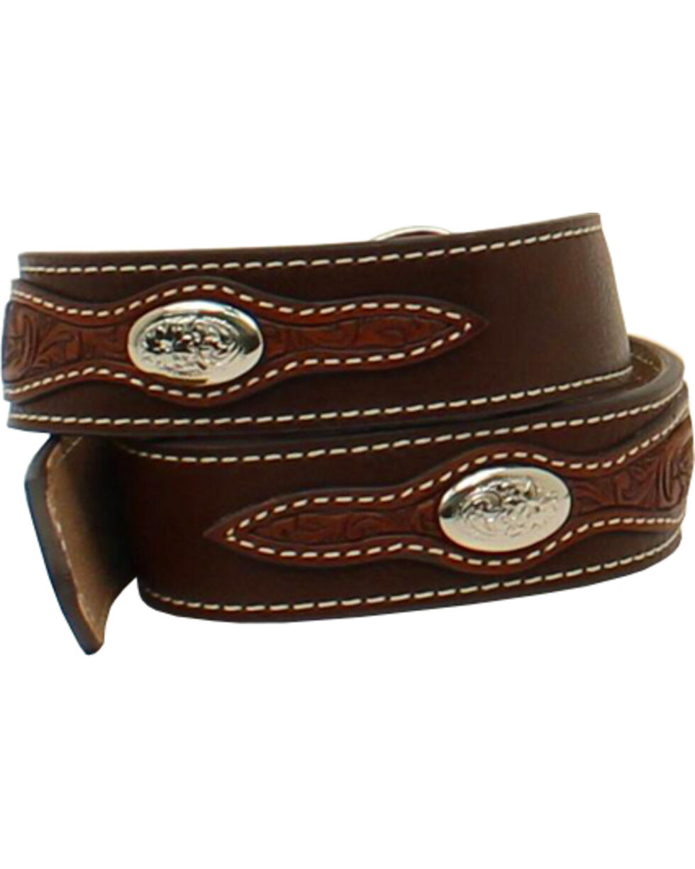 Nocona Boys' Stitched Inset Belt , Brown, hi-res
