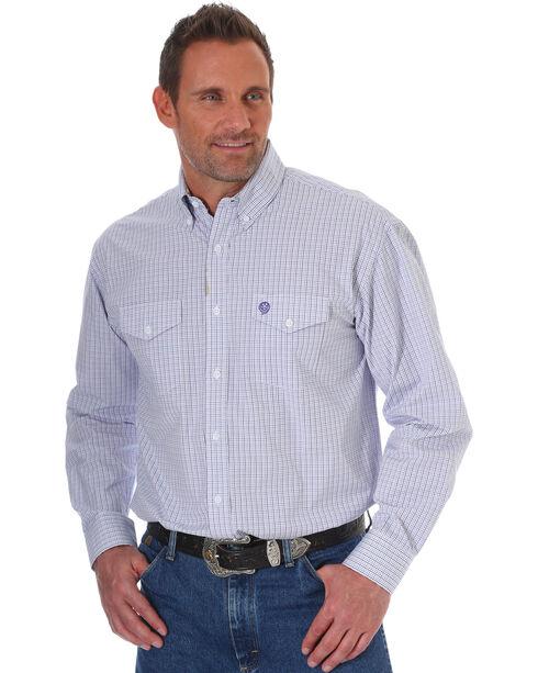 Wrangler George Strait Men's Purple Plaid Long Sleeve Button Down Shirt, Purple, hi-res
