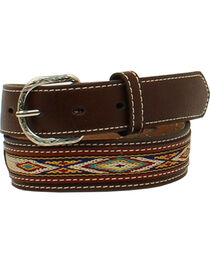Nocona Boys' Stitched Inset Belt , , hi-res