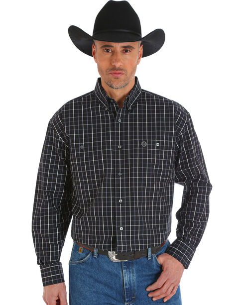 Wrangler Men's Black George Strait Poplin Shirt , Black, hi-res