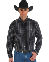 Wrangler George Strait Men's Poplin Plaid Button Shirt - Big & Tall, , hi-res
