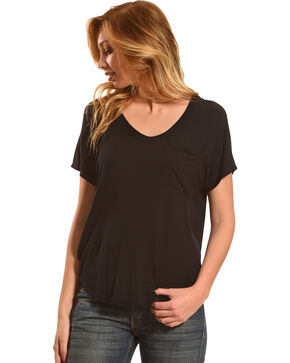 Derek Heart Women's Extended Cap Sleeve Hi Low Shirt - Black, Black, hi-res
