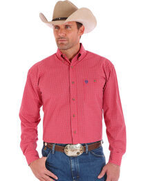 Wrangler Men's Red One Pocket Long Sleeve George Strait Plaid Shirt - Big and Tall, , hi-res
