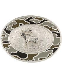 Montana Silversmiths Silver-Tone Winter Camo with Elk Belt Buckle, , hi-res