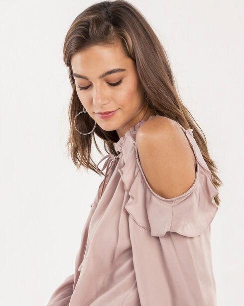 Miss Me Women's Missing Link Dusty Pink Cold Shoulder Top, Blush, hi-res