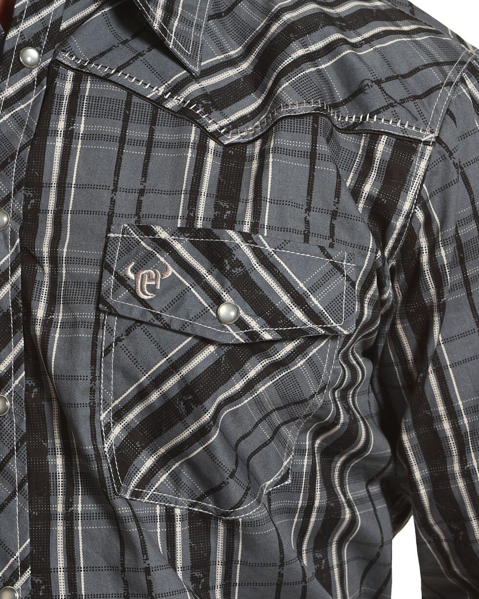 Cowboy Hardware Men's Charcoal Distressed Plaid Long Sleeve Shirt, Charcoal, hi-res