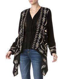 Miss Me Women's Embroidered Black Velvet Cardigan, , hi-res