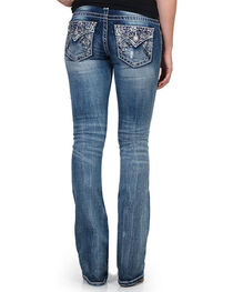 Miss Me Women's Floral Embroidered Mid Rise Jeans - Boot Cut, , hi-res