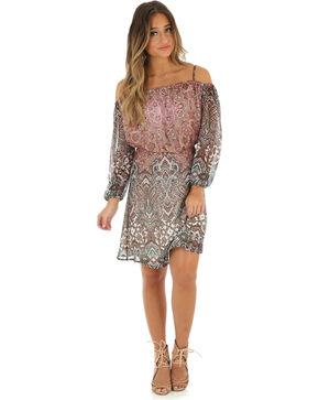 Wrangler Women's Cold Shoulder Printed Dress, Multi, hi-res