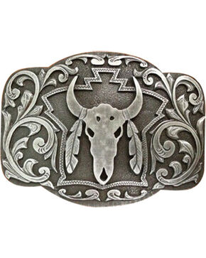 Cody James® Men's Steer Skull Belt Buckle, Silver, hi-res