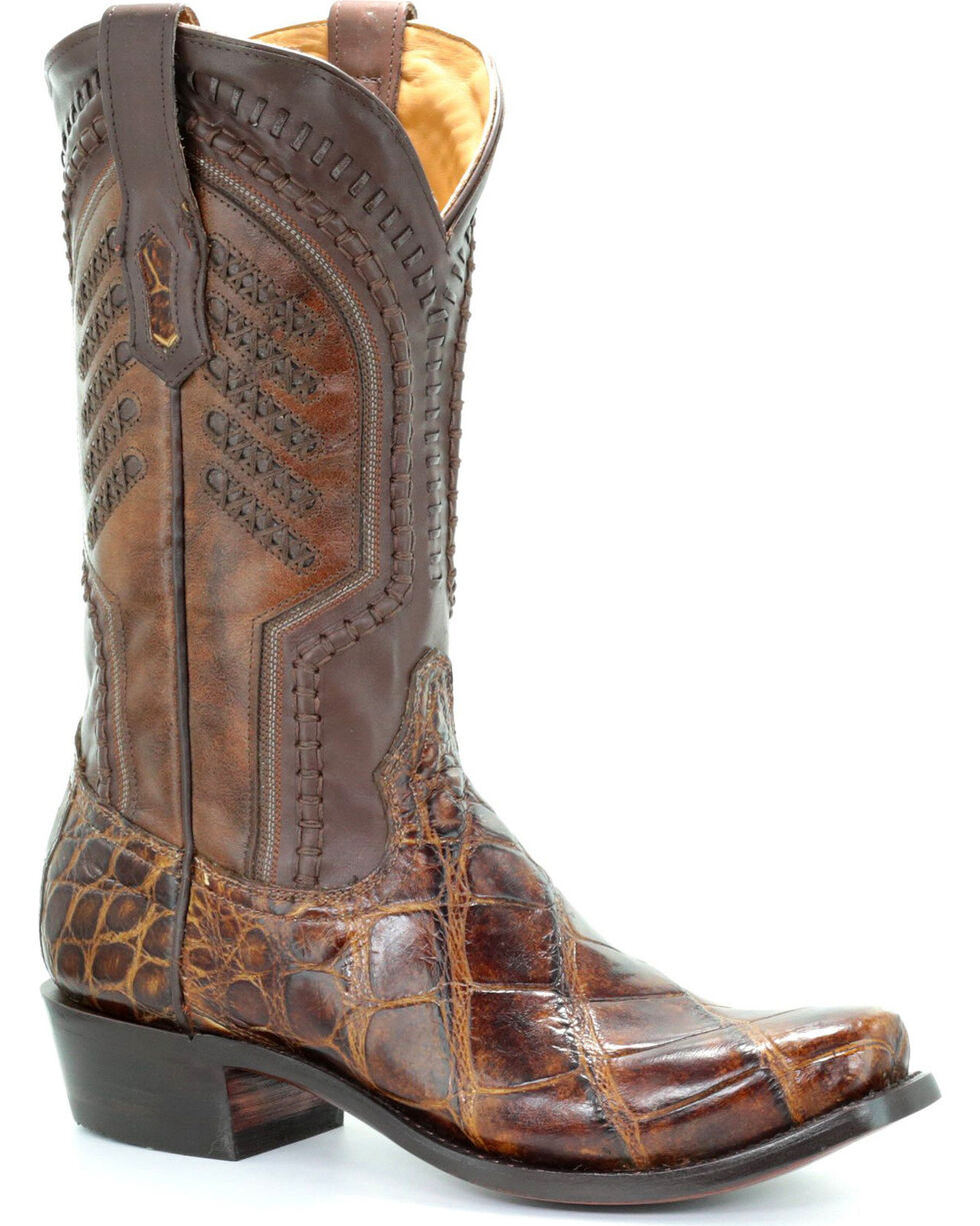 Corral Men's Honey Alligator Woven Cowboy Boots - Square Toe, Honey, hi-res