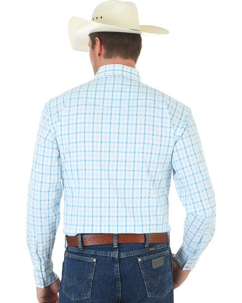 Wrangler George Strait Snap White and Blue Plaid Poplin Shirt, White, hi-res