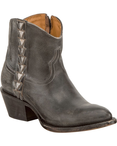 Lucchese Women's Chloe Black Goat Leather Geometric Overlay Western Booties - Round Toe, Black, hi-res