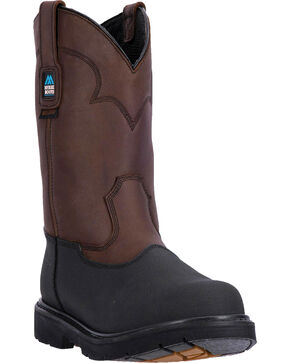 McRae Men's Waterproof Pull On Work Boot - Steel Toe, Dark Brown, hi-res