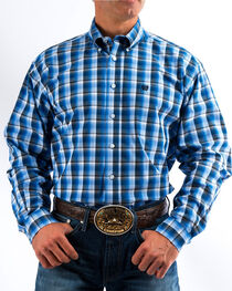 Cinch Men's Royal/Grey Plaid Button Down Western Shirt, , hi-res