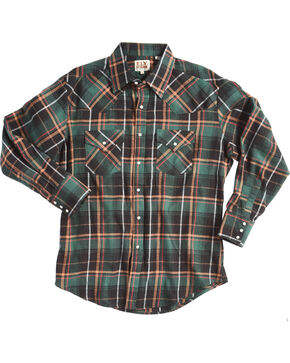 Ely Cattleman Men's Green Western Flannel Shirt - Tall , Green, hi-res
